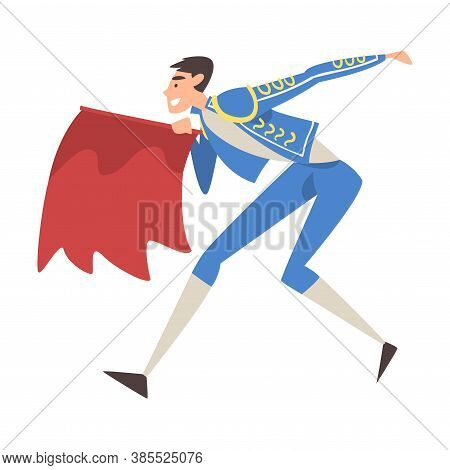 Bullfighter Fighting With Red Cape, Toreador Character Dressed In Traditional Costume, Spanish Corri