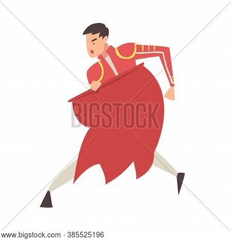 Man Bullfighter, Toreador Character Dressed In Red Traditional Costume, Spanish Corrida Performance