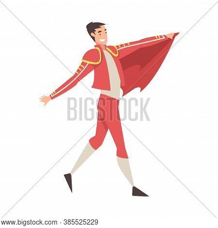 Man Bullfighter, Toreador Character Dressed In Red Costume, Spanish Bullfighting Traditional Perform