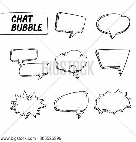 Vector Illustration Of Hand Drawing Of A Blank Speech Bubble Collection. Perfect For Design Elements