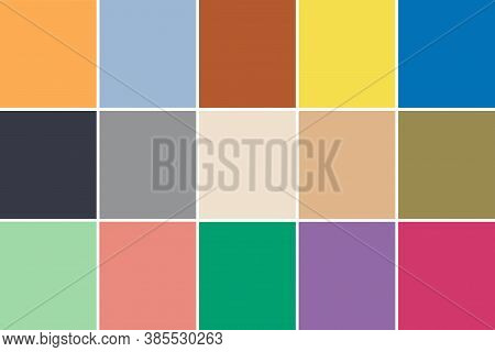 Set Of 15 Fashionable Colors Of Fashion Week. The Spring Summer 2021 New York Color Palette.