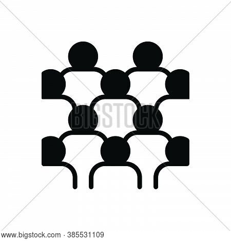 Black Solid Icon For Mass Collective Crowd Group Horde Mob Majority Throng