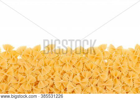 Italian Pasta Border For Menu Design Template, Raw Farfalle Over White Background With Copy Space. U