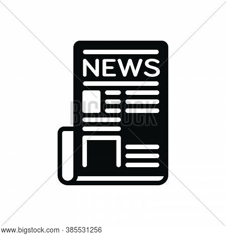 Black Solid Icon For Newspaper Tabloid Periodical Magazine Paper Journal Mag News Document Text