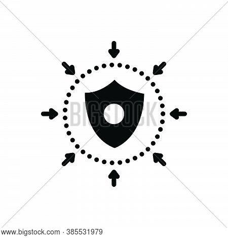Black Solid Icon For Defense Safeguard Defensive Shield Escutcheon Hillside Downgrade