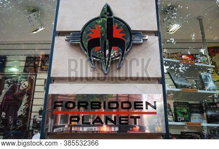 London / England, Uk - June 29, 2014: Forbidden Planet Megastore. The Cult Entertainment Store About