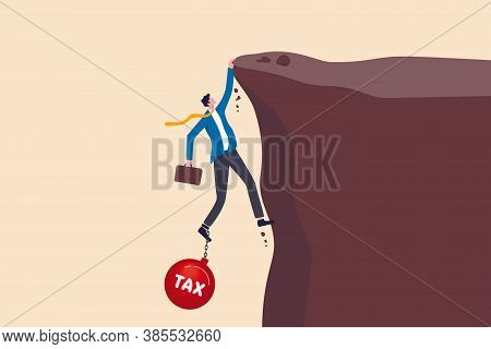 Salaryman Income Tax Payment, Government Tax, Debt, Fee Obligation To Pay Concept, Tried Depressed B