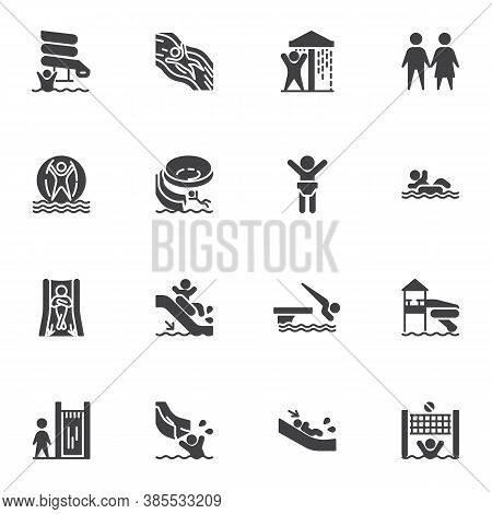 Aqua Park Vector Icons Set, Water Park Modern Solid Symbol Collection, Filled Style Pictogram Pack.