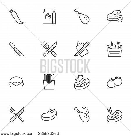 Barbeque Related Line Icons Set, Bbq Outline Vector Symbol Collection, Linear Style Pictogram Pack.