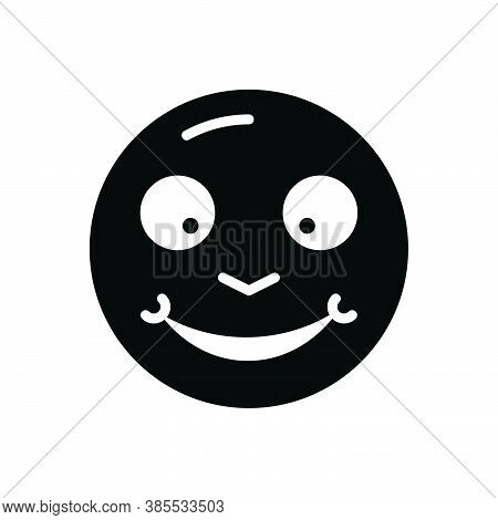 Black Solid Icon For Glad Cheery Complacent Hilarious Jolly Thrilled Delighted Pleased Tickled-pink