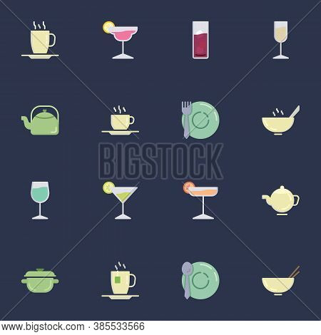 Drinking Utensils Collection, Glassware Flat Icons Set, Colorful Symbols Pack Contains - Cocktail Gl