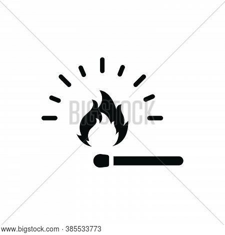Black Solid Icon For Match Matchstick Fire Safety Heat Strike Sulphur Bonfire Burn Danger Flame Flam