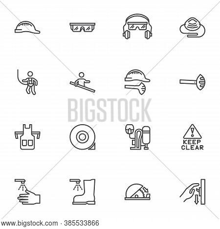 Protective Equipment Line Icons Set, Mandatory Sign Outline Vector Symbol Collection, Linear Style P
