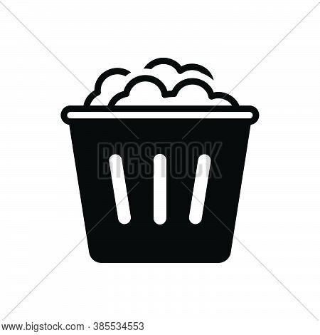 Black Solid Icon For Used Dump Household Garbage Bin Dustbin Trash-cans Rubbish Basket Wastebasket D
