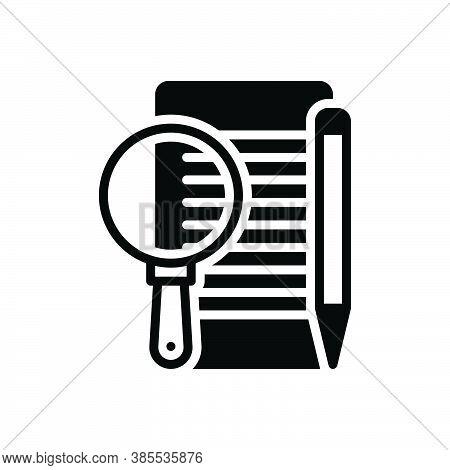 Black Solid Icon For Define Elucidate Interpret Describe Edit Paper Document