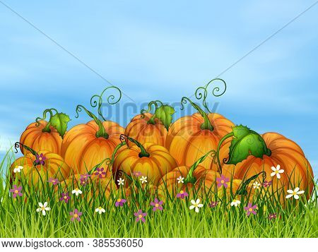 Halloween Pumpkins On The Grass By Beautiful Day - 3d Render