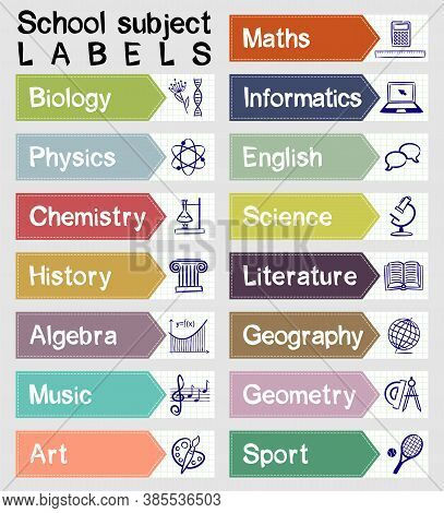 Labels With Names And Icons Of School Subjects