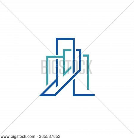 Abstract Office Building Skyscraper Line Modern Business Logo