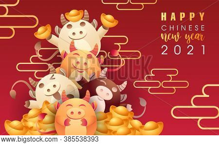 Happy Chinese New Year 2021 Ox Greeting Card. Cute Little Cow Personality And Chinese Gold Ingot, Fl