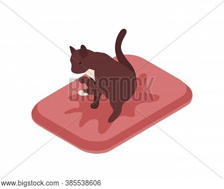 Cute Cat Sitting In Tray Over Puddle Of Urine Vector Isometric Illustration. Funny Feline Domestic A