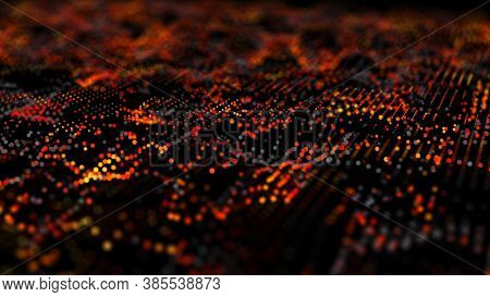 Wave 3d. Cybernetic Futuristic Background. Big Data. Abstract Grid Illustration.