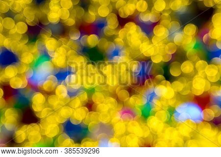 Abstract Golden Color Lights Chrismas Background. De-focused - Image