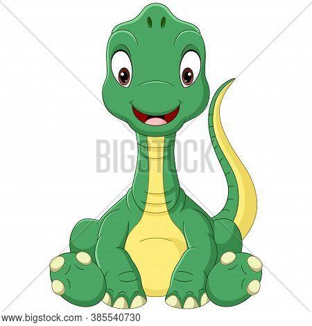 Vector Illustration Of Cartoon Baby Brachiosaurus Dinosaur Sitting