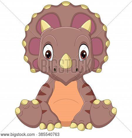 Vector Illustration Of Cartoon Baby Triceratops Dinosaur Sitting