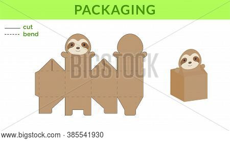 Adorable Diy Party Favor Box For Birthdays, Baby Showers With Cute Sloth For Sweets, Candies, Small