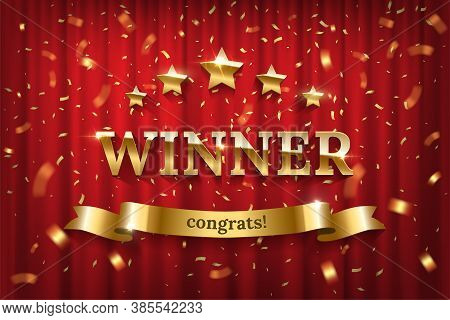 Vector 3d Realistic Sign Winner And Congrats, Five Stars On Red Curtain Background. Spotlights Illum