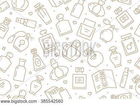 Perfume Bottles Seamless Pattern With Line Icons. Vector Background Illustration Included Icon As Gl