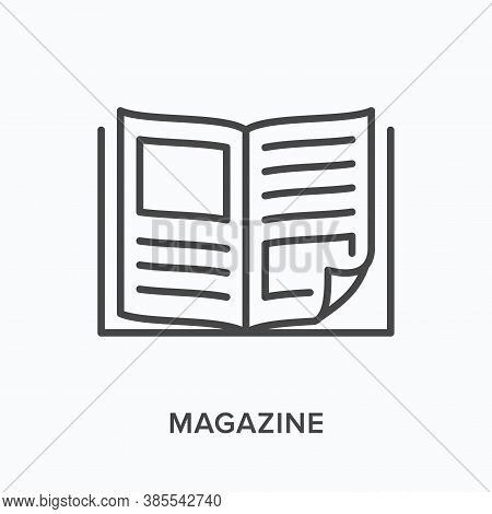 Magazine Flat Line Icon. Vector Outline Illustration Of News Brochure, Catalog Page. Latest Press Th