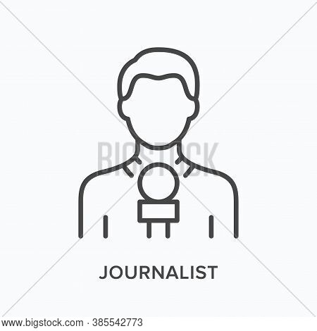 Journalist Holding Microphone Flat Line Icon. Vector Outline Illustration Of News. Live Broadcast Th