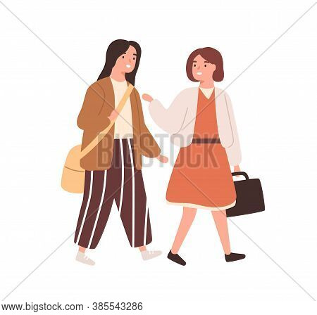 Two Schoolgirl With Bags Going To Primary School Together Vector Flat Illustration. Female Classmate
