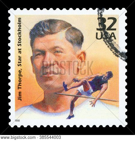 United States Of America - Circa 1998: A Postage Stamp Printed In Usa Showing An Image Of Athlete Ji