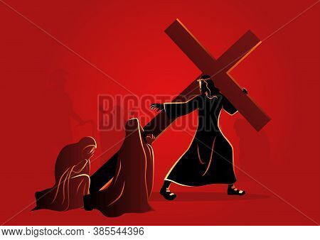 Biblical Vector Illustration Series. Way Of The Cross Or Stations Of The Cross, Eighth Station, The