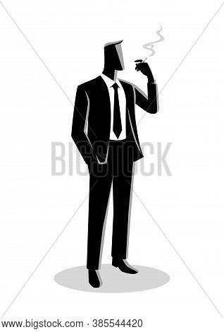 Business Illustration Of A Businessman Smoking Cigarette