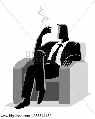 Business Illustration Of A Businessman Sitting Comfortable In The Sofa While Smoking Cigarette