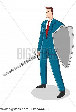 Business Concept Cartoon Illustration Of A Businessman Holding A Sword And Shield, Preparation, Prot