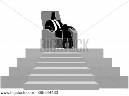 Business Concept Illustration Of A Businessman Sitting With Comforts In The Sofa On Top Of A Stage