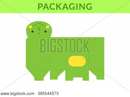 Diy Party Favor Box For Birthdays, Baby Showers With Cute Iguana For Sweets, Candies, Small Presents