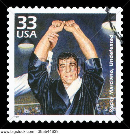 United States Of America, Circa 1999: A Postage Stamp Printed In Usa Showing An Image Of Boxer Rocky