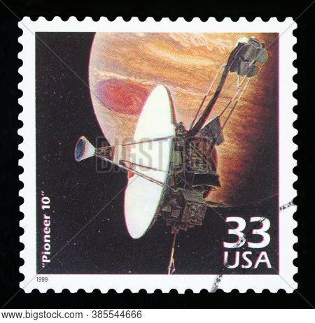 United States Of America - Circa 1999: A Postage Stamp Printed In Usa Showing An Image Of Pioneer 10