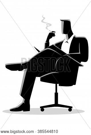 Business Illustration Of A Businessman Sitting And Reading On A Chair While Smoking Cigarette