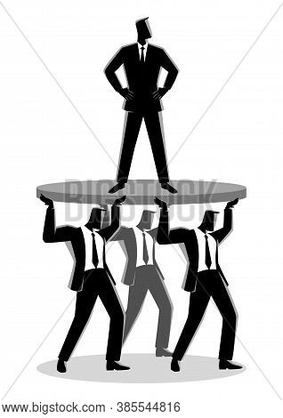 Business Concept Illustration Of A Businessman Supported By Business Colleagues