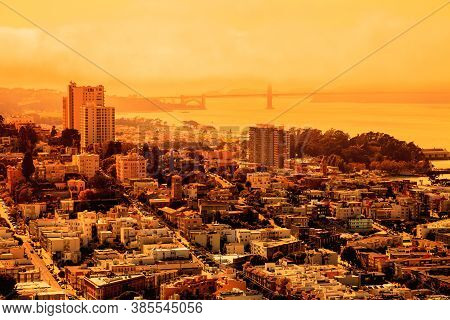 Foggy Orange Sky Of San Francisco Skyline. California Fires In United States Of America. Composition