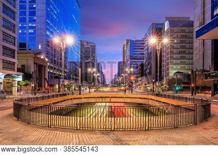 Paulista Avenue At Twilight In Sao Paulo, Brazil