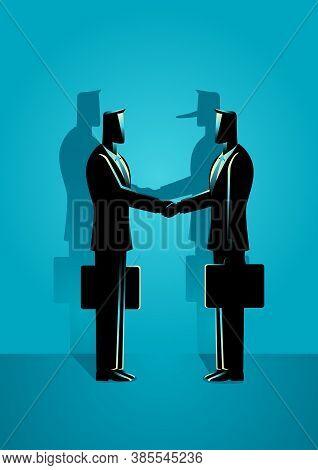 Business Concept Vector Illustration Of Two Businessmen Giving Handshake. Business Fraud, Financial
