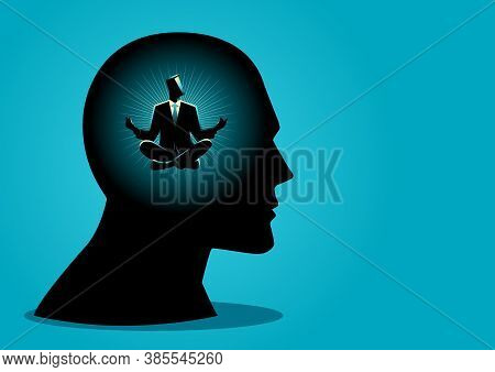 Vector Illustration Of A Businessman In Human Head Doing Yoga Pose. Peaceful Mind, Calm Concept