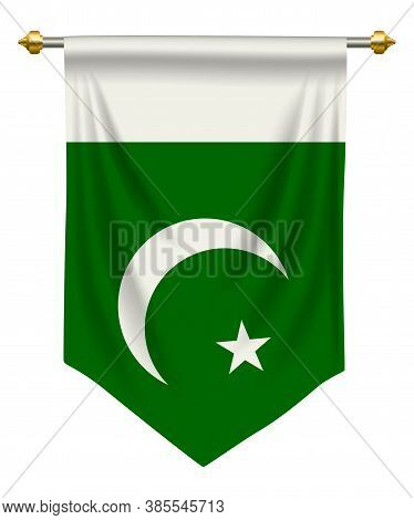 Pakistan Flag Or Pennant Isolated On White